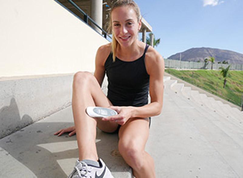 Alexandra Burghardt, Sprinterin, setzt den sanakey bei Beschwerden und zur Regeneration ein