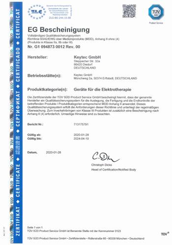 EG-Bescheinigung der TÜV Süd Product Services GmbH