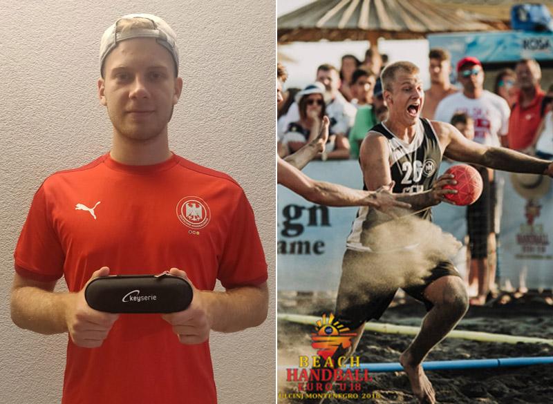 Moritz Ebert, Handball-Torwart, mit dem sanakey