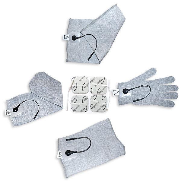 Textil-Set mit Klebeelektroden, Ellenbogen, Handschuh, Knie und Socke